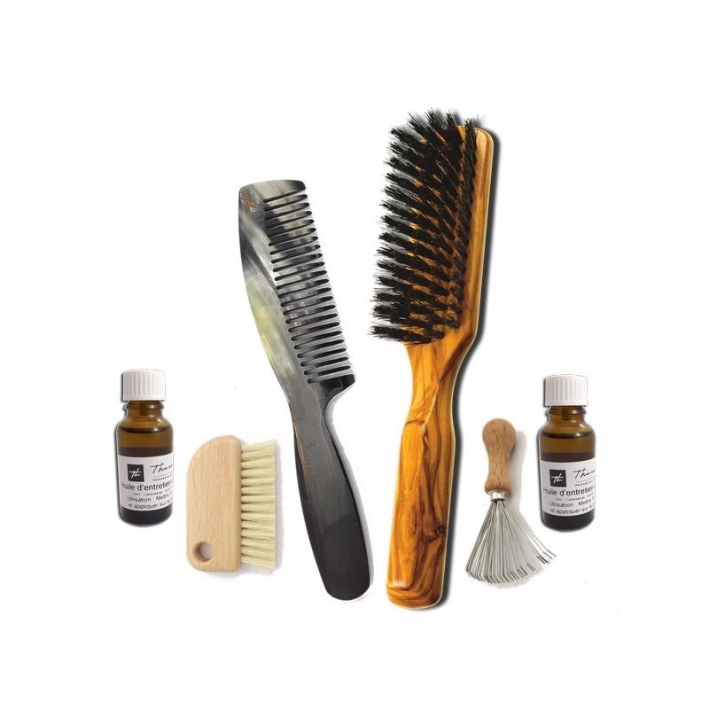 Combi cheveux mi-long - peigne en corne & brosse poils de sanglier