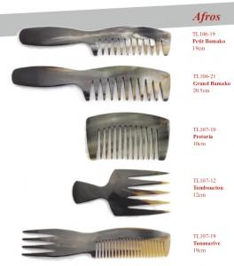 5 modèles de peignes en corne afros Thomas Liorac